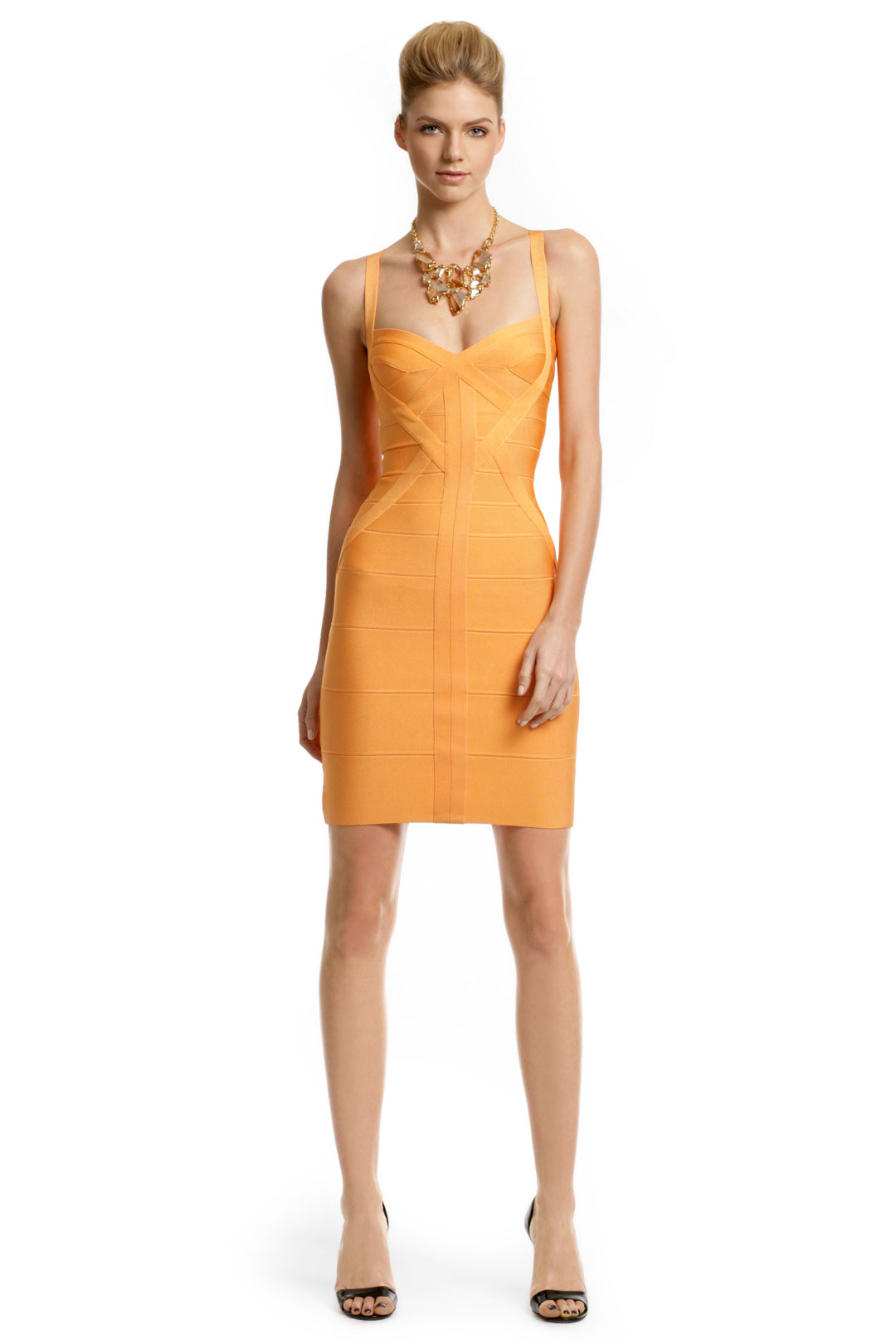 For Sale Light Orange Sweetheart Herve Leger Dress XS