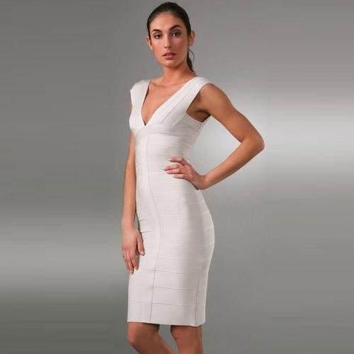 white v neck dress