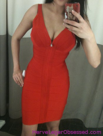 coral red front zip Herve Leger
