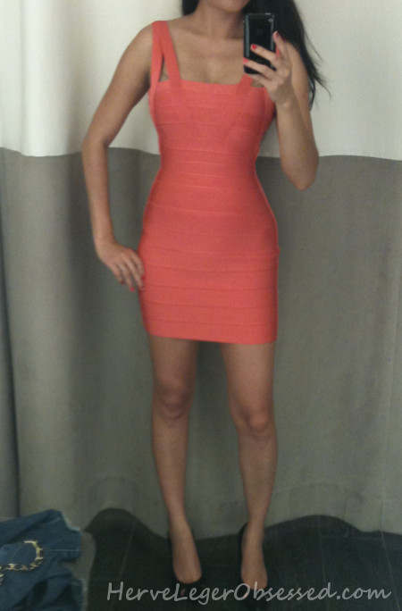 coral short mini Herve Leger dress