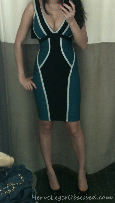 blue black colorblocked bandage dress