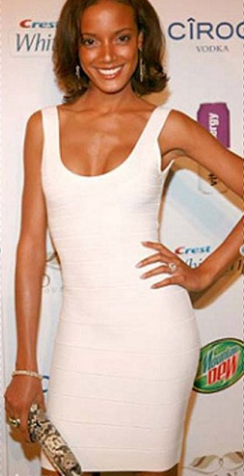 victoria secret model in white scoop Herve Leger bandage dress