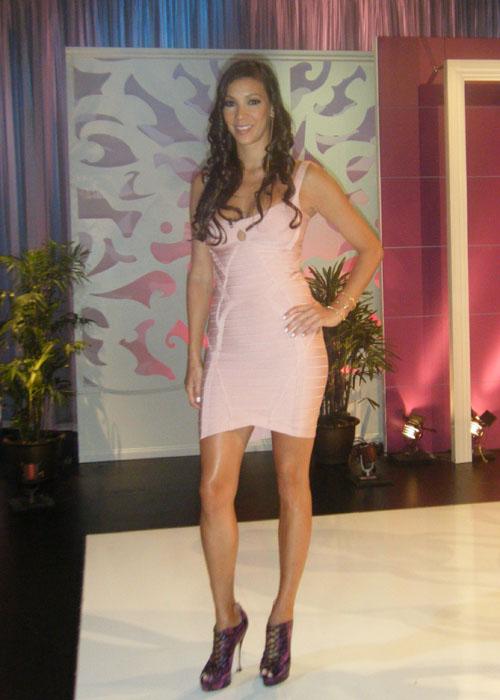 Suzie Ketcham in pink tight dress