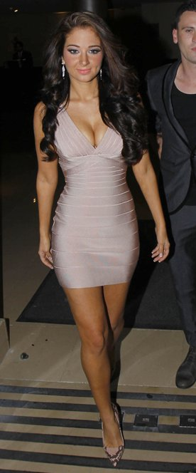 celebrity in sexy short pink tight dress