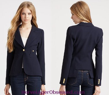 Navy Blue Blazer Women Photo Album - Reikian
