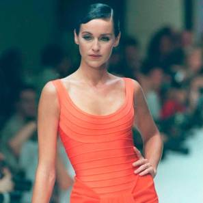 vintage orange Herve Leger dress