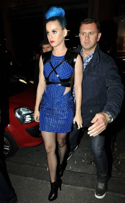 Katy Perry Herve Leger blue dress