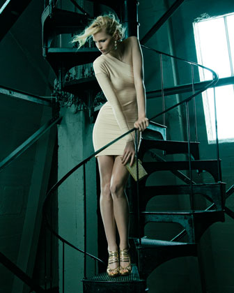 one shoulder cream Herve Leger dress