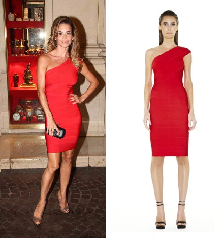 red one shouldered Herve Leger dress