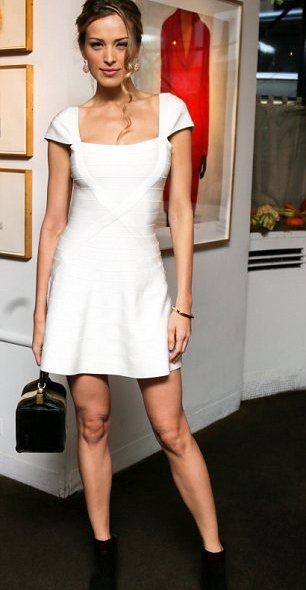 white crossover flared Herve Leger dress