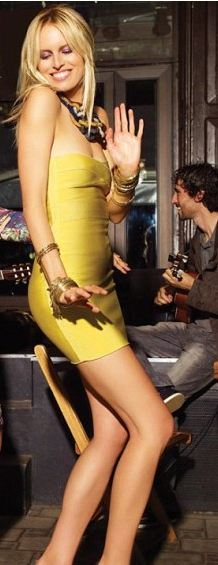 yellow strapless bandage mini dress