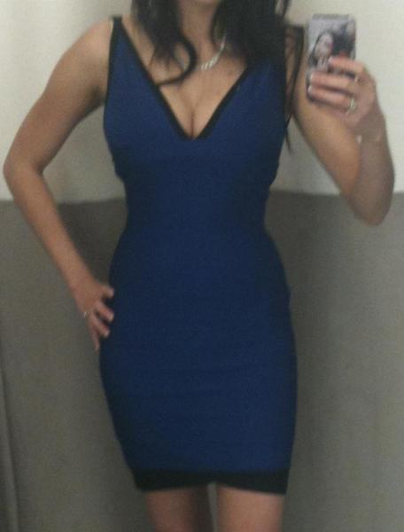 Blue V Neck Tight Herve Leger Mini Dress xxs