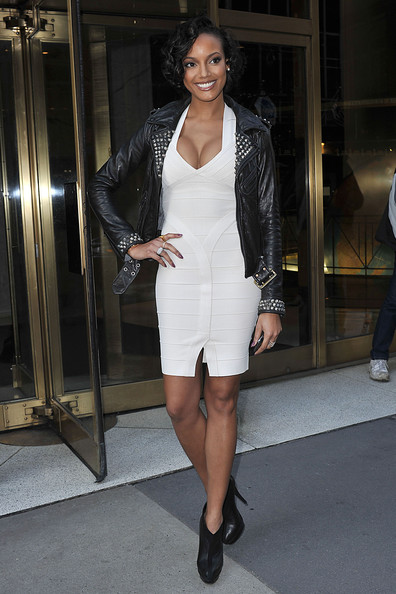 f1246f4ab4db Victoria secret model in white Herve Leger with Leather Jacket