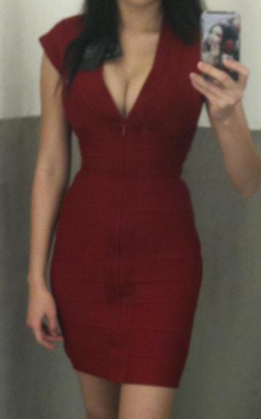 Front zip Red mini dress Herve Leger
